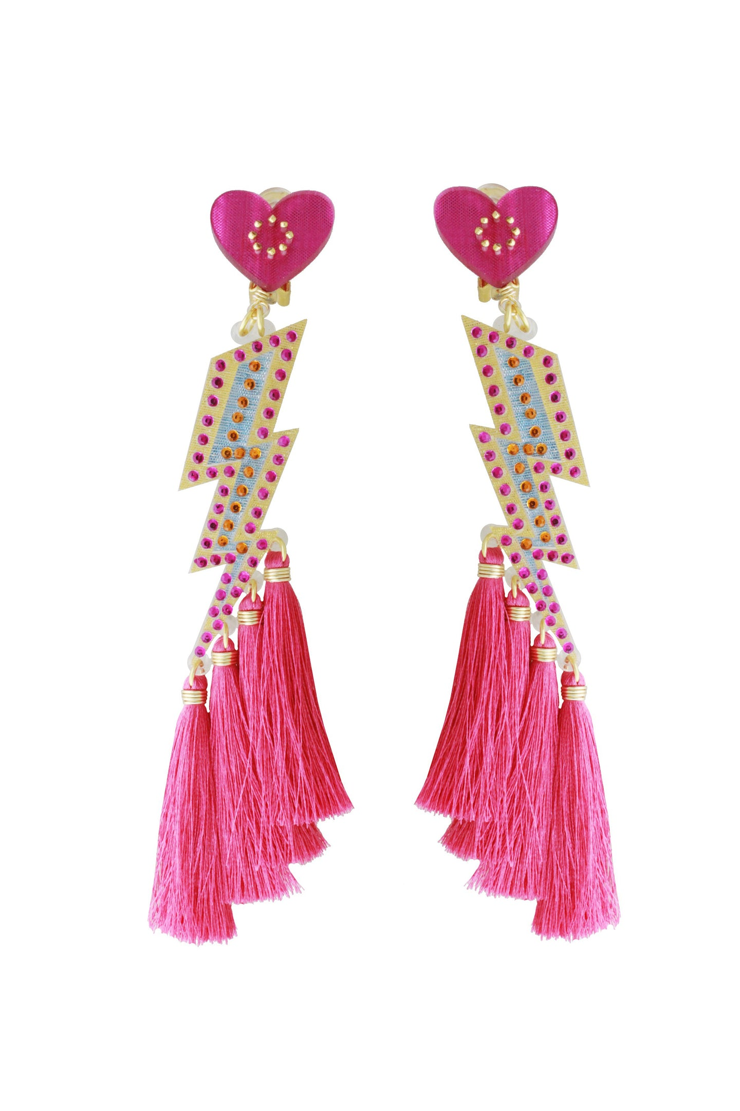 Pink Lightening Bolt Earrings