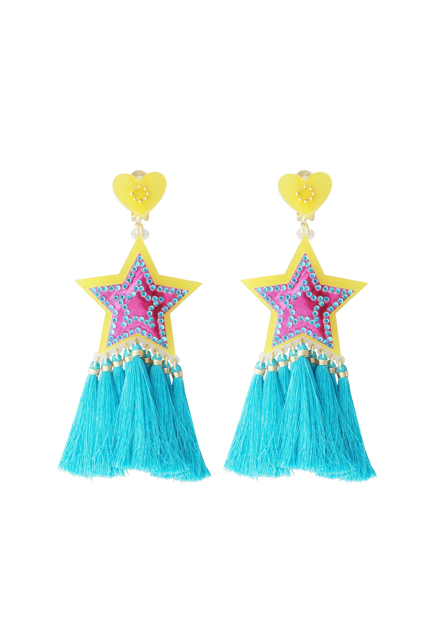 Pink & Blue Star Earrings