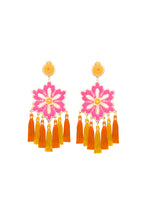 Load image into Gallery viewer, Pink Hibiscus Flower Earrings