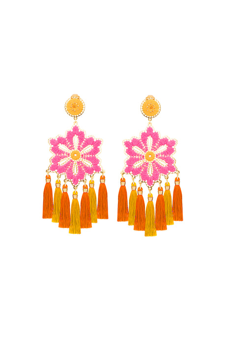 Pink Hibiscus Flower Earrings
