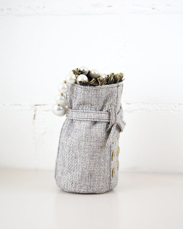 Grey Tweed Charlotte Pouch Bag