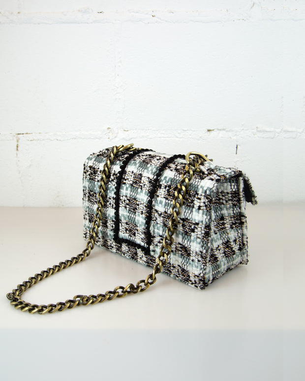 Grey Tweed Romeo Shoulder Bag