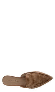 AREZZO | BLAIZ | Tan Raffia Pointed Mules Brown Flats Natural