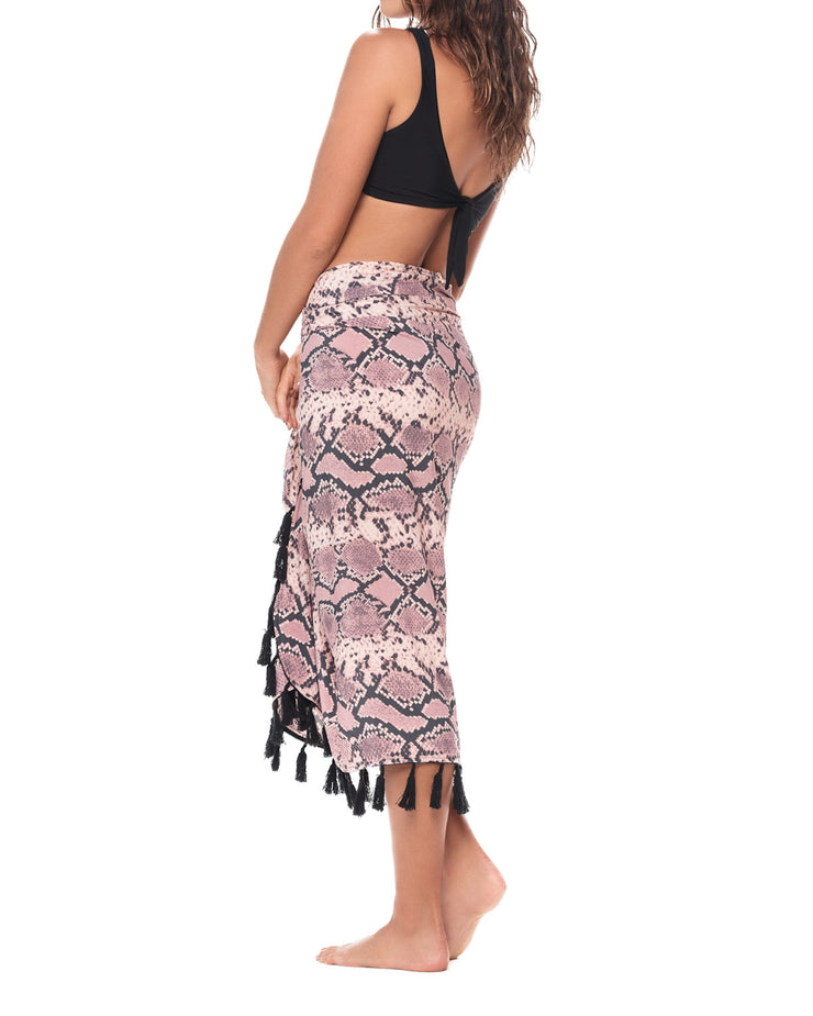 Dusty Pink Snake Print Pareo