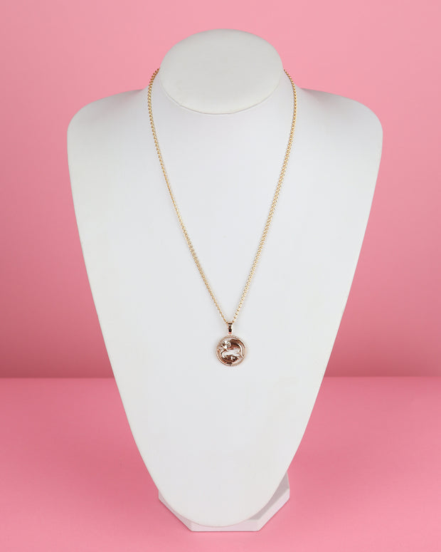 Astrology Rose Gold Medallion Necklace