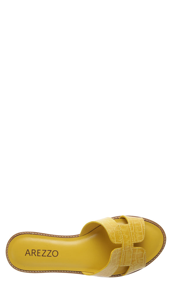 Yellow Croc Embossed Sandals