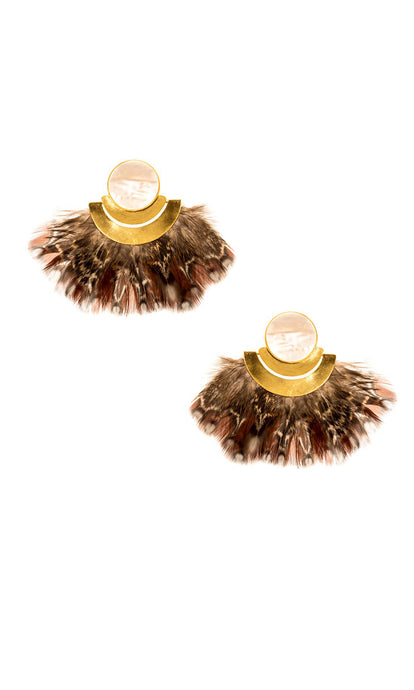 Mother of Pearl & Brown Feather Earrings