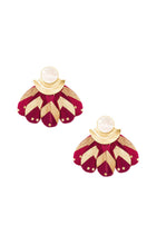 Load image into Gallery viewer, Mother of Pearl Burgundy & Gold Feather Earrings