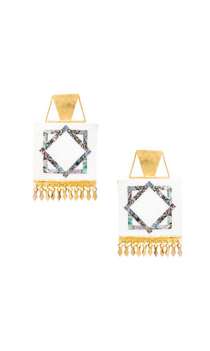 Gold & Mother of Pearl Square Akre Earrings