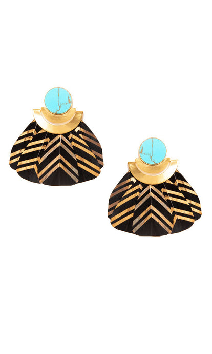 Turquoise Black & Gold Feather Earrings