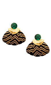 Malachite Black & Gold Feather Earrings