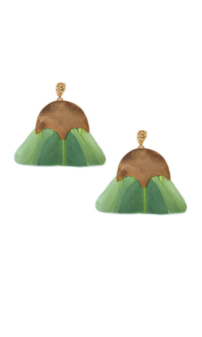 Olive Green Feather Earrings