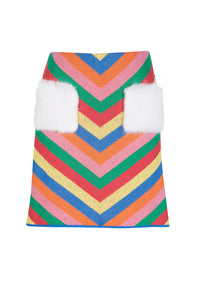 Rainbow Striped Knit Skirt
