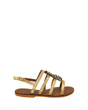 Gold & Jade Embellished Leather Sandals