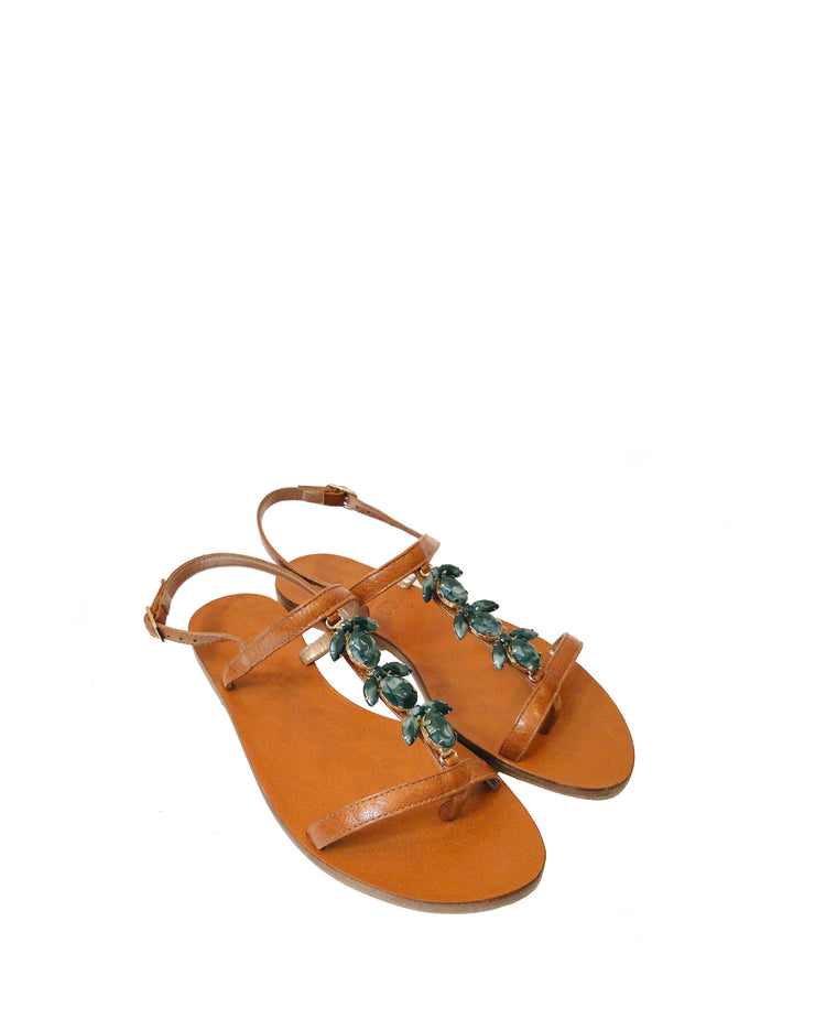 Tan & Jade Embellished Leather Sandals