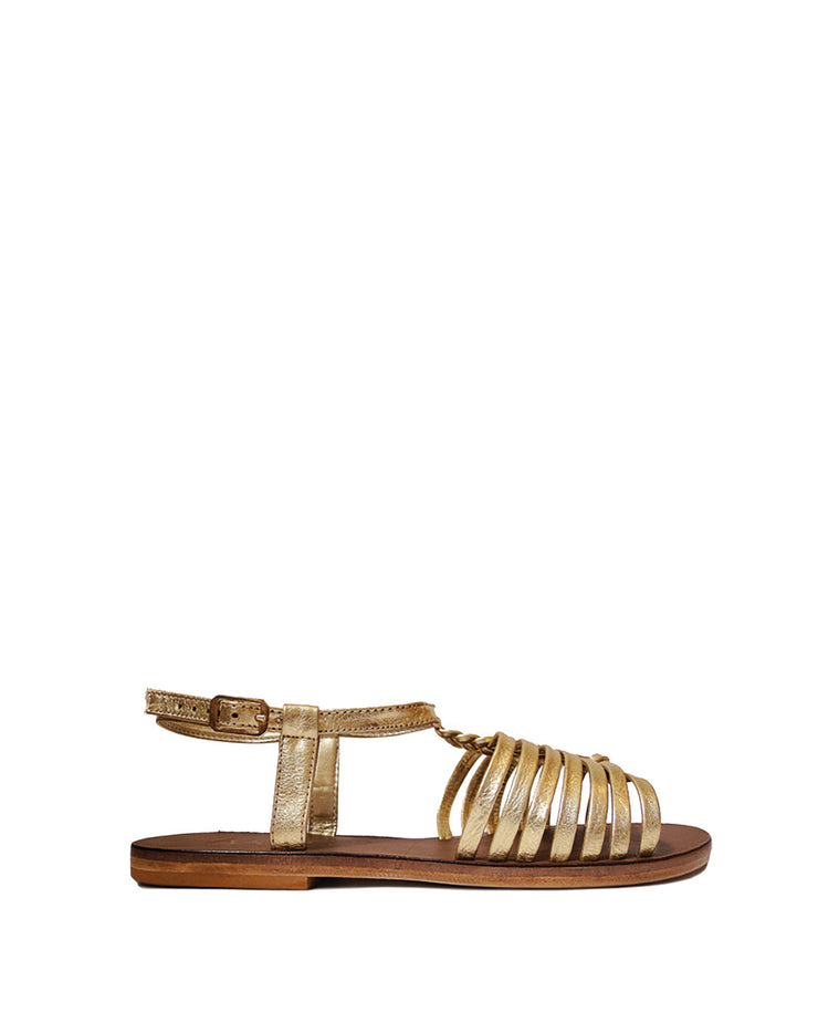 ANAS | BLAIZ | Gold Gladiator Leather Sandals