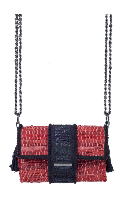 Red Woven Leather Clutch Bag