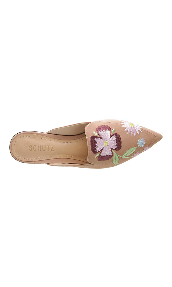 Flower Embroidered Nude Pointed Mules