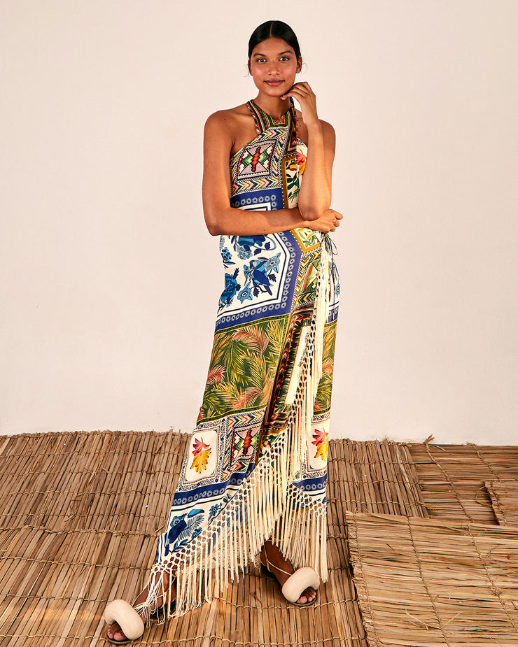 BLAIZ | FARM RIO | Cross Front Fringe Scarf Maxi Dress