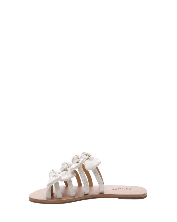 SCHUTZ | BLAIZ | Cream Canvas Bow Sandals Flats Slip Ons