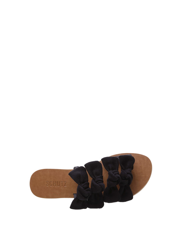 SCHUTZ | BLAIZ | Black Canvas Bow Sandals Flats Slip Ons