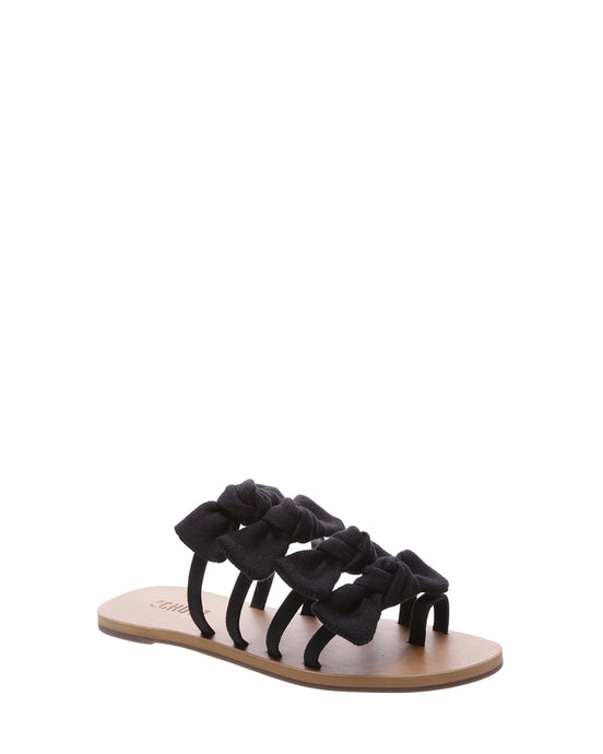 Black Canvas Bow Sandals