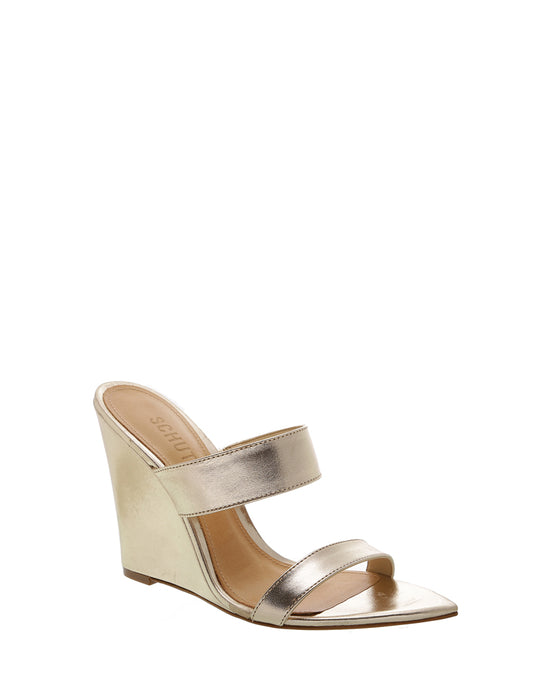 Gold Wedge Pointed Mules
