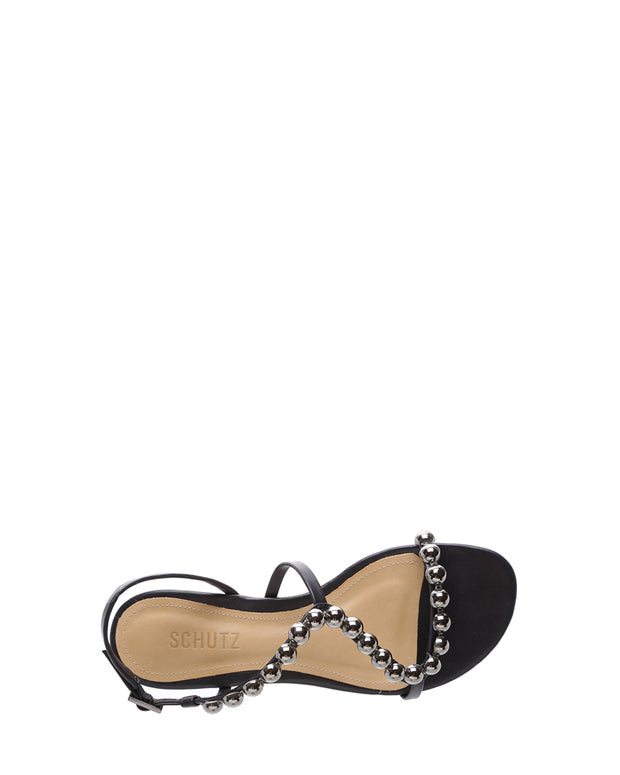 Black Chrome Stud Flat Sandals
