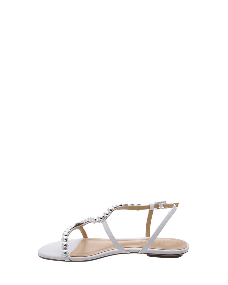 White Silver Stud Flat Sandals