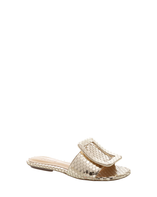 Gold Snake Buckle Flats