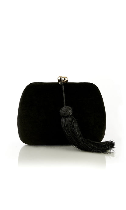 Black Velvet Tassel Clutch