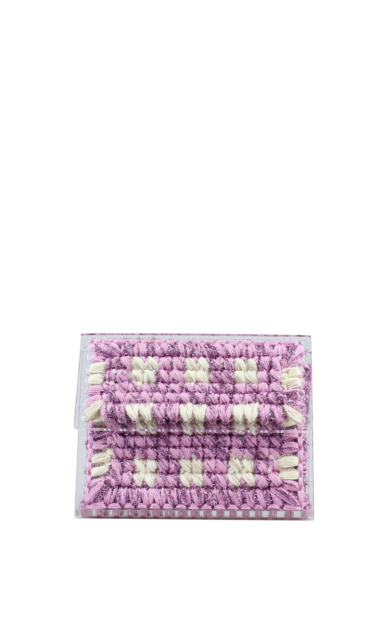 Cream & Pink Sparkly Knit Acrylic Clutch