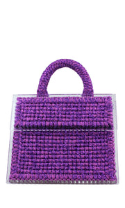 Purple Sparkly Knit Acrylic Tote Bag