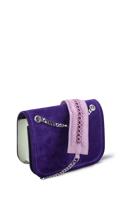 Purple & Lime Chain Shoulder Bag