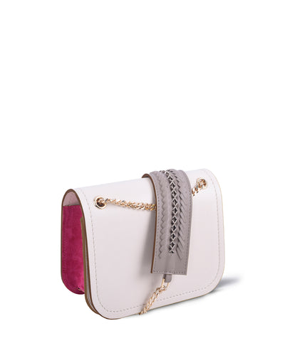 Cream & Pink Suede Chain Bag