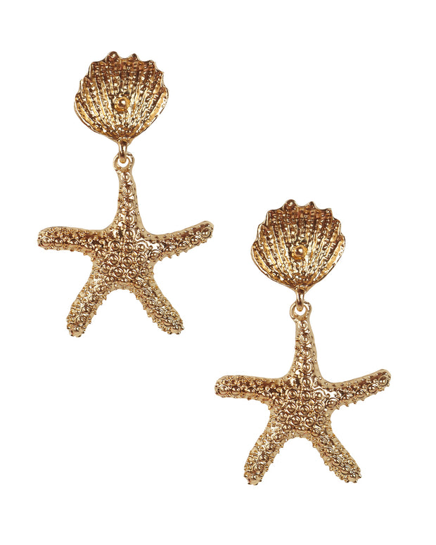 Shell & Starfish Gold Earrings