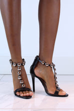 Load image into Gallery viewer, Chrome Stud Black Strappy Heels
