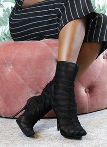 Black Stiletto Tulle Boots