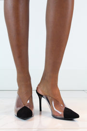 Black Suede & PVC High Heeled Mules