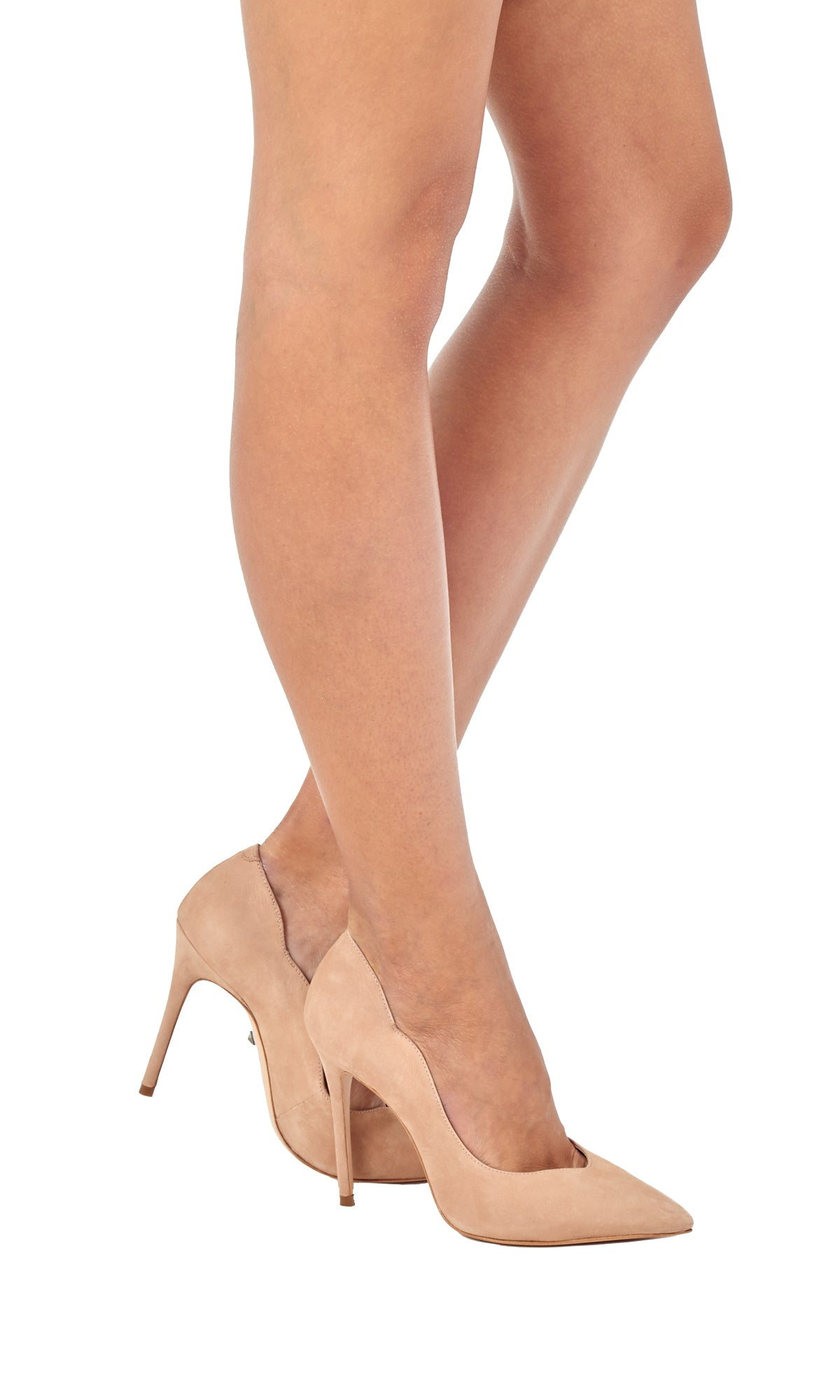 Nude Suede Pointed Pumps