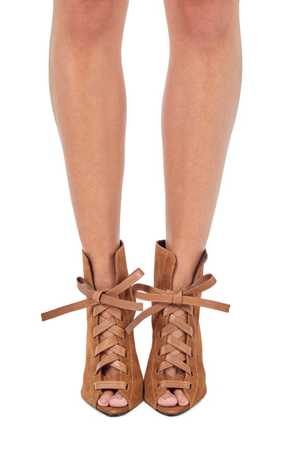Tan Suede Peep Toe Ankle Boots