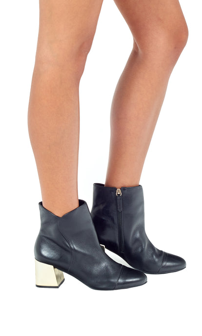 Black Leather Gold Heel Ankle Boots
