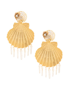 Gold Calico Maxi Shell Earrings