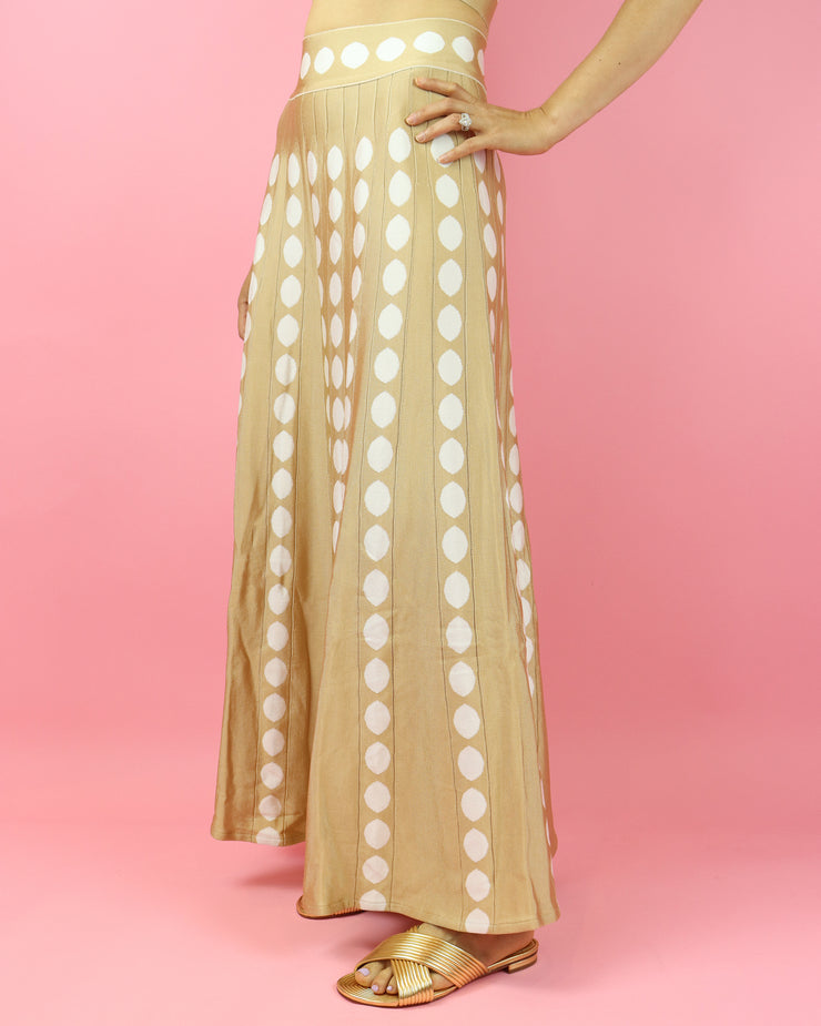 SKAZI | BLAIZ | BEIGE POLKA DOT SKIRT SET