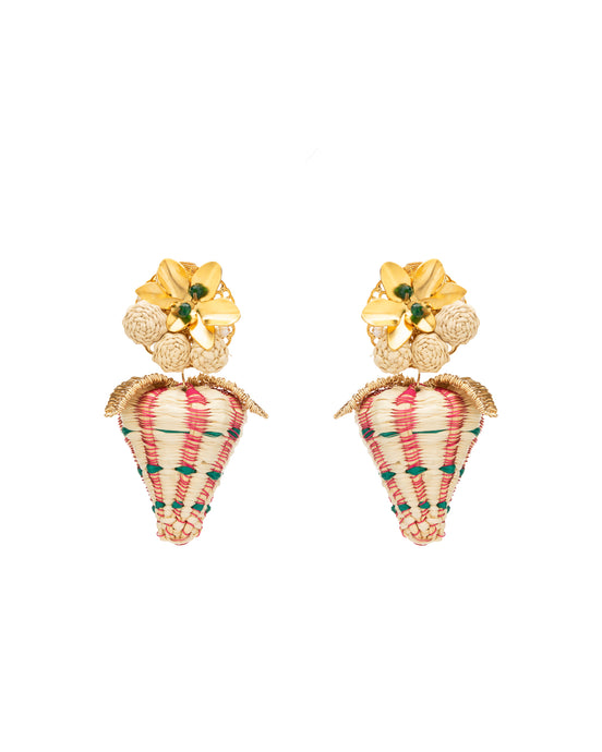Golden Raffia Strawberry Earrings