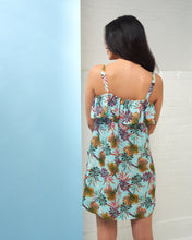 Load image into Gallery viewer, Turquoise Palm Print Dress