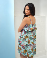 Turquoise Palm Print Dress