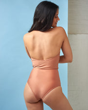 Copper Halterneck Swimsuit