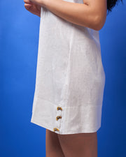 Off White Linen Mini Dress