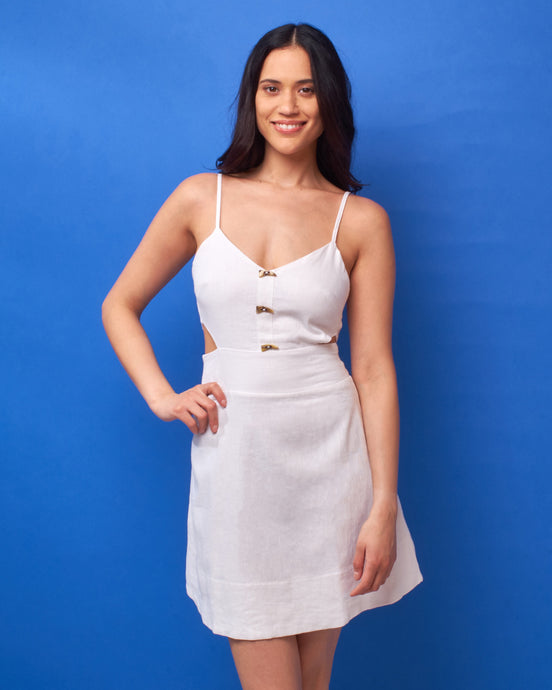 Off White Linen Cut Out Dress